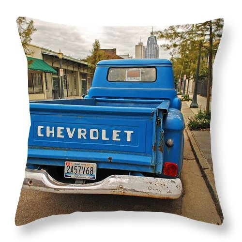 Throw Pillow featuring the digital art Blue Chevy Tailgate by Michael Thomas