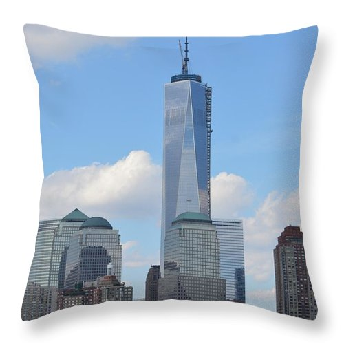 City Throw Pillow featuring the photograph Blue City Skyline by Sonali Gangane