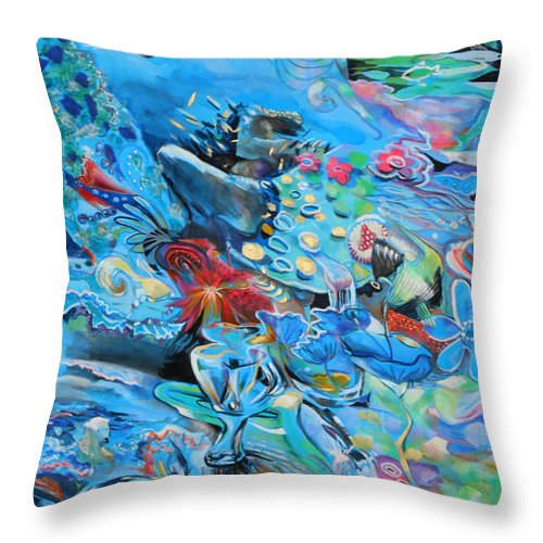 Blue Confusion Throw Pillow featuring the painting Blue Confusion by Lucia Hoogervorst