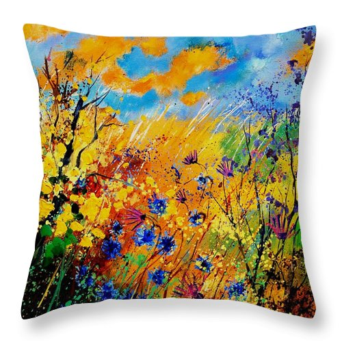 Poppies Throw Pillow featuring the painting Blue Cornflowers 450408 by Pol Ledent