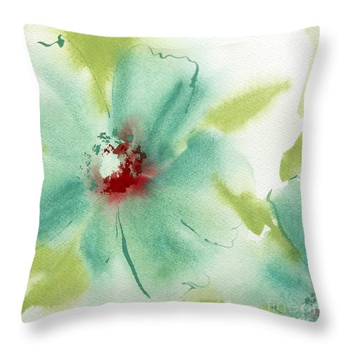 Watercolors Throw Pillow featuring the painting Blue Cosmos I by Chris Paschke