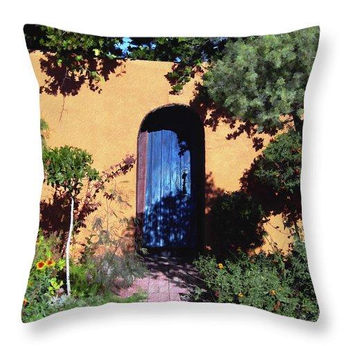 Blue Door Throw Pillow featuring the photograph Blue Door At Old Mesilla by Kurt Van Wagner