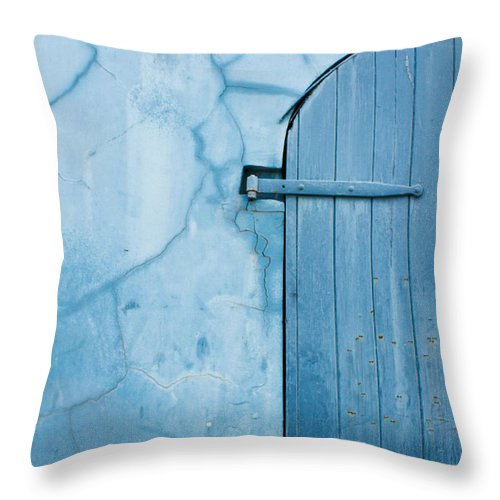 Historic Throw Pillow featuring the photograph Blue Door In St. Thomas Virgin Islands by Jared Shomo