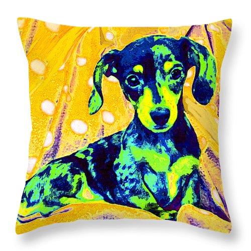 Dachshund Throw Pillow featuring the digital art Blue Doxie by Jane Schnetlage