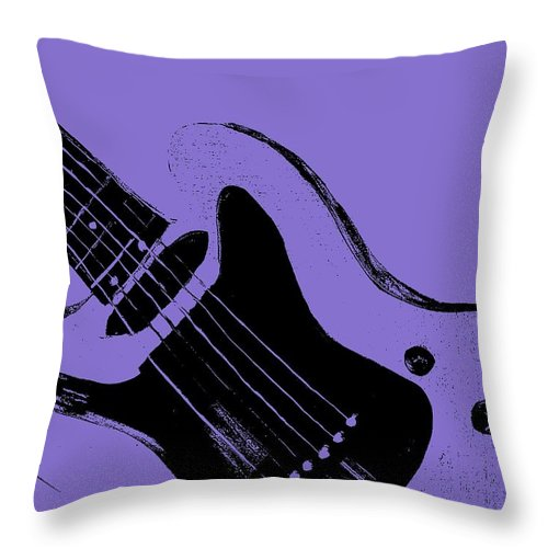 Retro Throw Pillow featuring the painting Blue Electric Guitar by Mark Moore