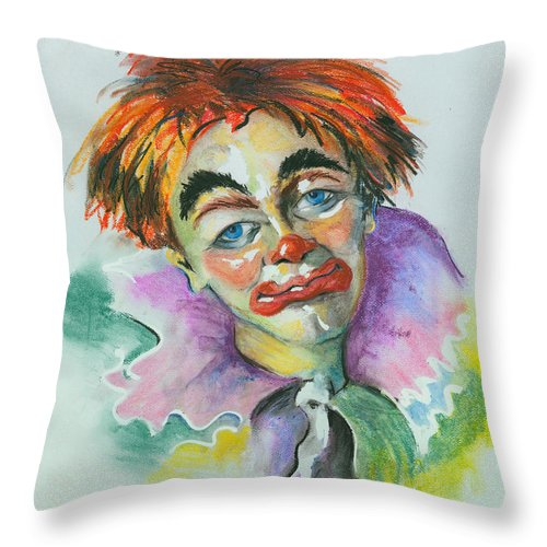 Canvas Print Throw Pillow featuring the painting Blue Eyes by Elisabeta Hermann