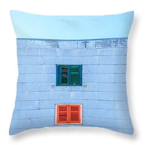 Argentina Throw Pillow featuring the photograph Blue Facade And Colorful Windows by Jess Kraft
