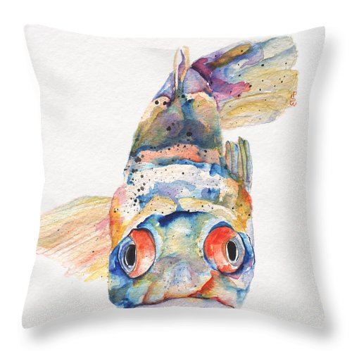 Pat Saunders-white Throw Pillow featuring the painting Blue Fish  by Pat Saunders-White