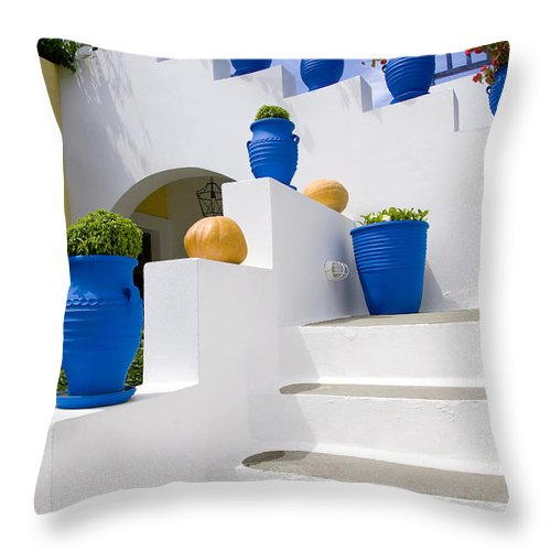 Vertical Throw Pillow featuring the photograph Blue Flower Pots by Jim Wallace