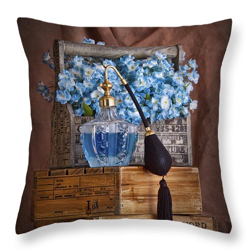 Aroma Throw Pillow featuring the photograph Blue Flower Still Life by Tom Mc Nemar