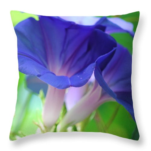 Blue Throw Pillow featuring the photograph Blue Flutes by Breanna Calkins