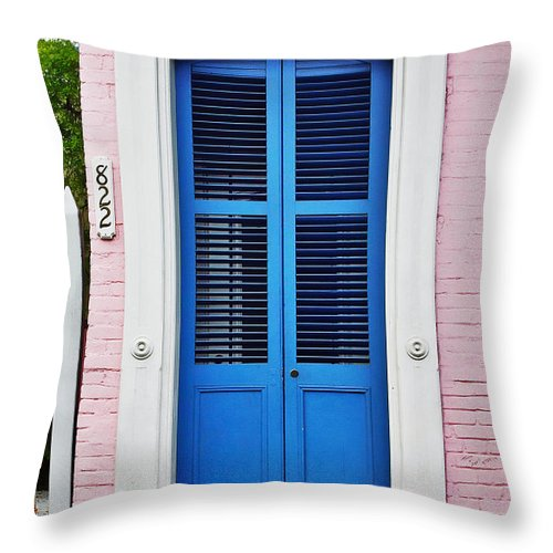 Front Throw Pillow featuring the photograph Blue Front Door New Orleans by Christine Till