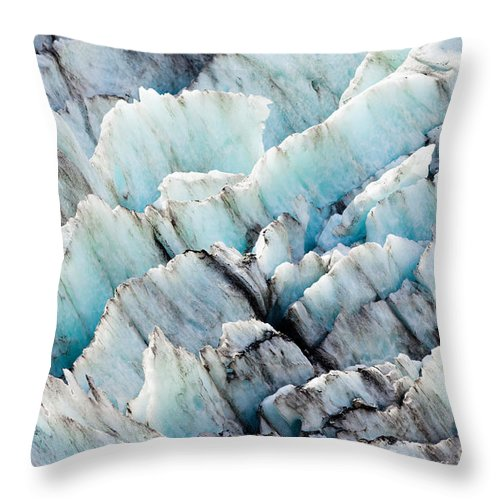 Abstract Throw Pillow featuring the photograph Blue Glacier Ice Background Texture Pattern by Stephan Pietzko