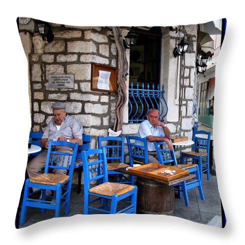 Greek Taverna Print Photographs Throw Pillow featuring the photograph Blue Greek Taverna by Daliana Pacuraru