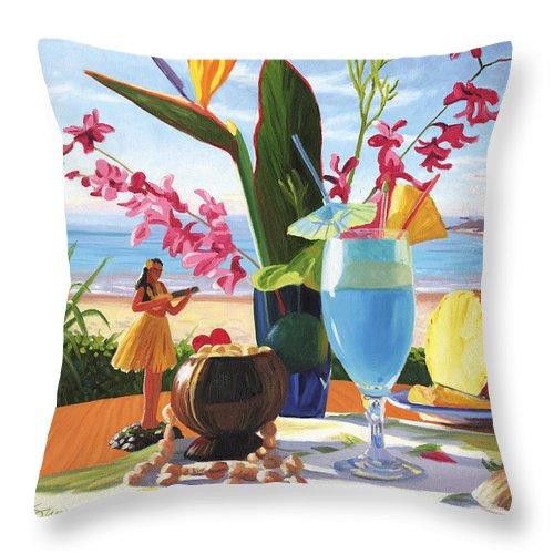 Blue Hawaiian Throw Pillow featuring the painting Blue Hawaiian by Steve Simon