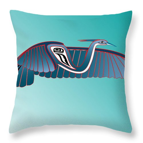 Haida Point Art Throw Pillow featuring the drawing Blue Heron Flight by Fred Croydon