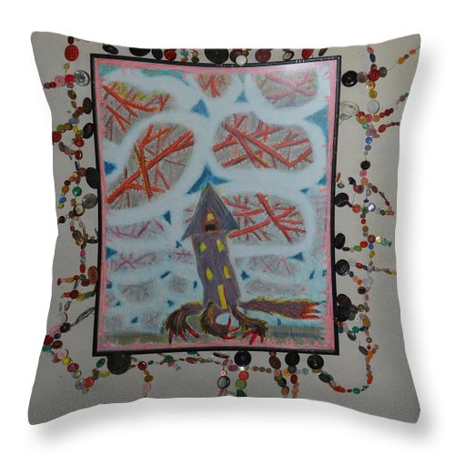 Abstract Modern Raw Outsider House Sky Clouds Bear Triangles Thorn Thorns Roof Claws Throw Pillow featuring the painting Blue Holes - Framed by Nancy Mauerman