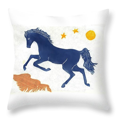 Horse Throw Pillow featuring the drawing Blue Horse by Dawn Senior-Trask