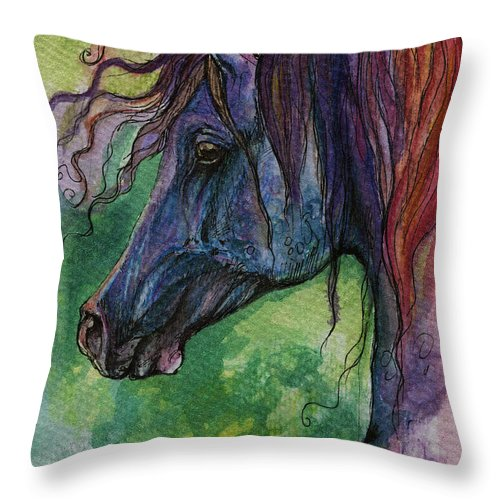 Fairytale Throw Pillow featuring the painting Blue Horse With Red Mane by Angel Ciesniarska