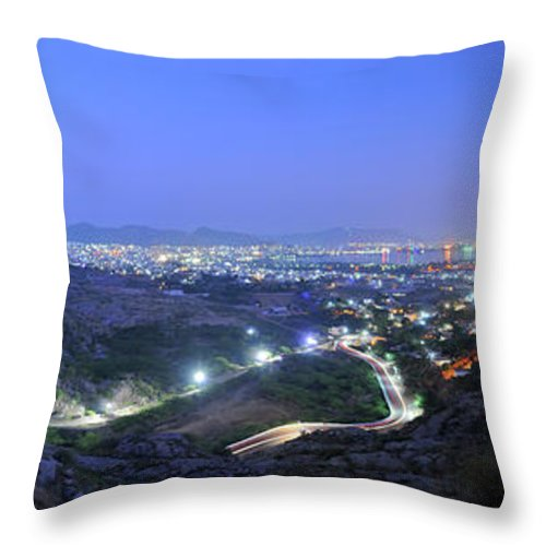 Scenics Throw Pillow featuring the photograph Blue Hour Ajmer City Panorama by Nimit Nigam