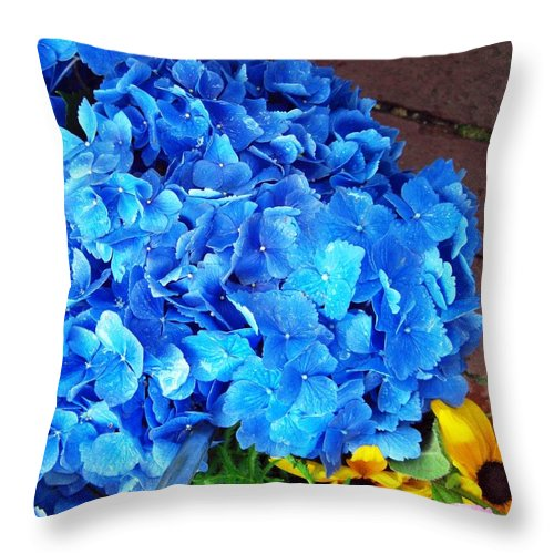 Floral Throw Pillow featuring the photograph Blue Hydrangea by Becky Bunting