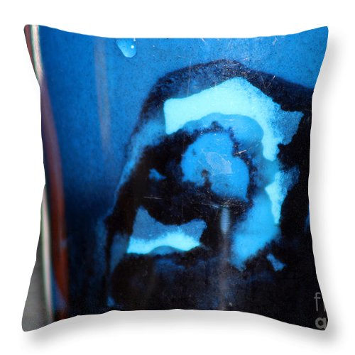 Abstract Throw Pillow featuring the photograph Blue Instant by Karen Adams