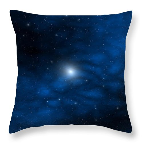 Space Throw Pillow featuring the digital art Blue Interstellar Gas by Robert aka Bobby Ray Howle