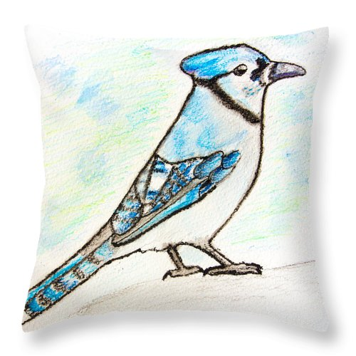Watercolor Pencils Throw Pillow featuring the drawing Blue Jay by Pati Photography