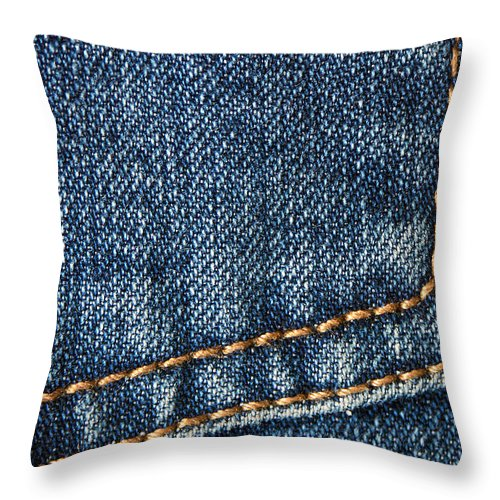 Jeans Throw Pillow featuring the photograph Blue Jeans Denim Detail by Matthias Hauser