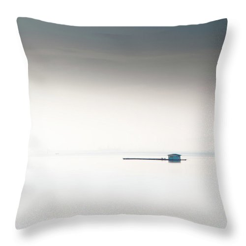 Tranquility Throw Pillow featuring the photograph Blue Kelong by Khairul Fitri Mohamad