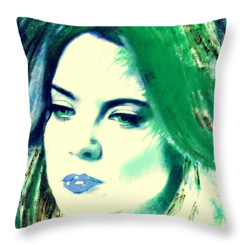 Portrait Throw Pillow featuring the mixed media Blue Lips On Green by Kim Prowse