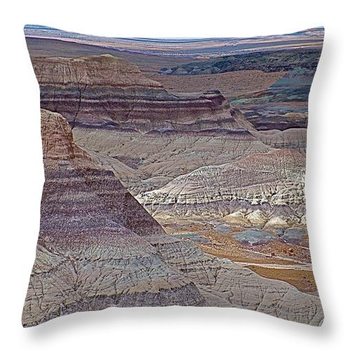 Blue Mesa At Petrified Forest National Park Throw Pillow featuring the photograph Blue Mesa At Petrified Forest National Park-arizona by Ruth Hager