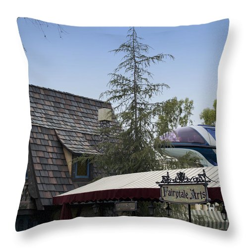 Rail Throw Pillow featuring the photograph Blue Monorail Fairytale Arts Disneyland by Thomas Woolworth