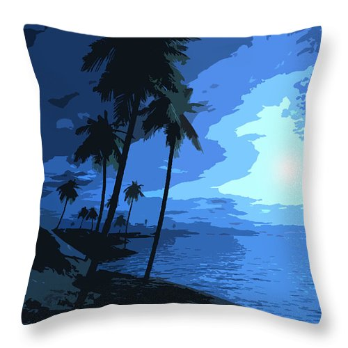 Blue Throw Pillow featuring the painting Blue Moon by Bryan Burnham
