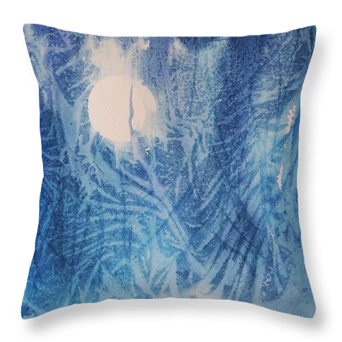 Full Moon Throw Pillow featuring the painting Blue Moon by Ellen Levinson