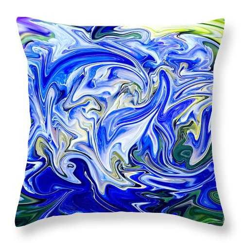 Blue Hydrangea Throw Pillow featuring the photograph Blue Mophead Hydrangea Abstract by Sharon Talson