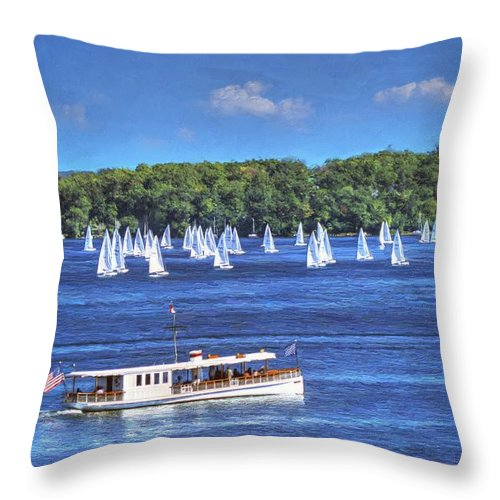 Buy Throw Pillow featuring the painting Blue Morning Cruise - Lake Geneva Wisconsin by Ben Thompson