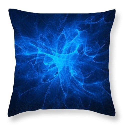 Blue Throw Pillow featuring the digital art Blue Nebula by Vitaliy Gladkiy