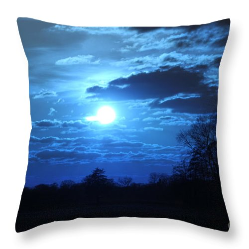 Blue Throw Pillow featuring the photograph Blue Night Light by Four Hands Art