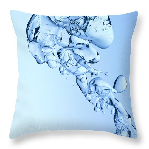 Yellow Throw Pillow featuring the photograph Blue Oil Water Background by Grafissimo
