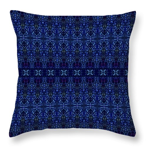 Blue Throw Pillow featuring the painting Blue On Blue Repeat by Sue Duda
