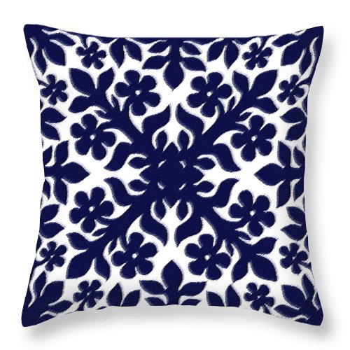 Hawaii Iphone Cases Throw Pillow featuring the digital art Blue Plumeria Quilt by James Temple