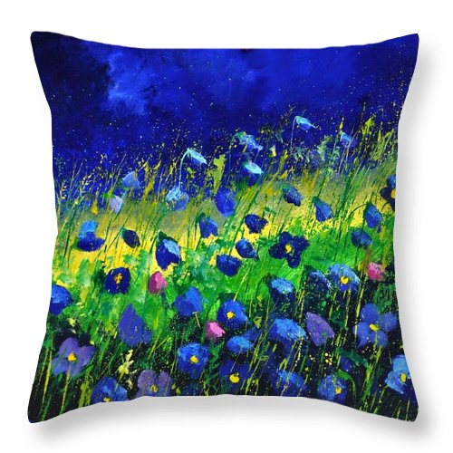 Landscape Throw Pillow featuring the painting Blue poppies 674190 by Pol Ledent