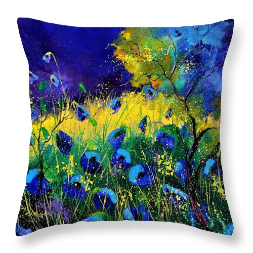 Landscape Throw Pillow featuring the painting Blue poppies 7741 by Pol Ledent
