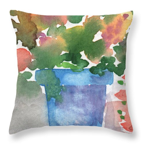 Watercolor Throw Pillow featuring the painting Blue Pot Of Flowers by Linda Woods
