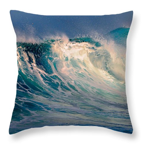 Wave Throw Pillow featuring the photograph Blue Power. Indian Ocean by Jenny Rainbow