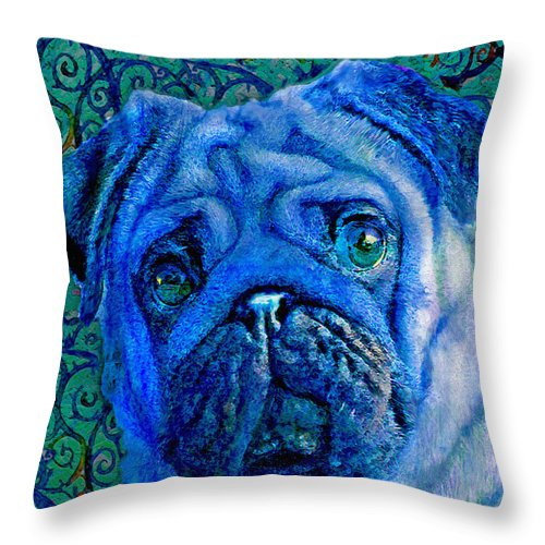 Pug Throw Pillow featuring the digital art Blue Pug by Jane Schnetlage