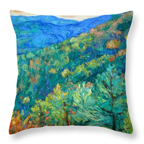 Blue Ridge Mountains Throw Pillow featuring the painting Blue Ridge Autumn by Kendall Kessler