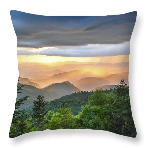 Clouds Throw Pillow featuring the photograph Blue Ridge Parkway Nc - Golden Rainbow by Robert Stephens