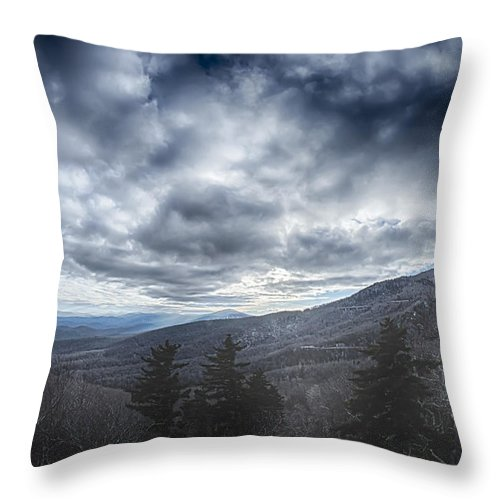 Road Throw Pillow featuring the photograph Blue Ridge Parkway Winter Scenes In February by Alex Grichenko